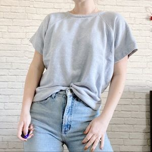 Folk Ethically Made Cropped Blue Cotton Top
